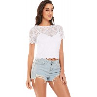 ODCOCD Women's Lace Fashion Tops Crop T-shirt Tank Midi at  Women's Clothing store