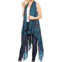 Sakkas 174523 - Ivana Women's Oversized Draped Open Front Sleeveless Cardigan in Tie Dye - Teal - OS at  Women's Clothing store