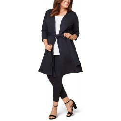 Seek No Further by Fruit of the Loom Women's Plus Size Ponte Open Front Long Cardigan at  Women's Clothing store