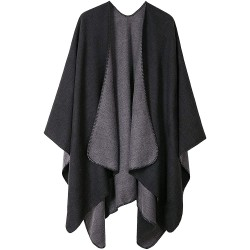 VamJump Women Poncho Shawl Capes Solid Warm Oversized Blanket Poncho Cape and Wrap One Size Black