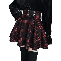 Women's High Waisted Short A-line Flare Gothic Mini Black Red Plaid Pleated Skirt Dress… at  Women's Clothing store