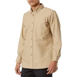 Red Kap Men's Poplin Dress Shirt Khaki Large at  Men's Clothing store