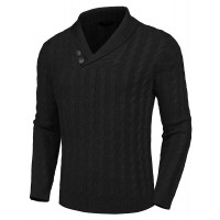 COOFANDY Men's Shawl Collar Pullover Sweater Slim Fit Casual Button Cable Knit Sweaters at  Men's Clothing store