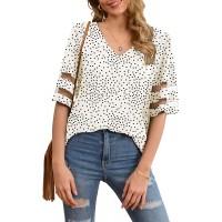 Jouica Women's V Neck Chiffon Blouse Mesh Panel Blouse 3 4 Bell Sleeve Loose Top Shirt