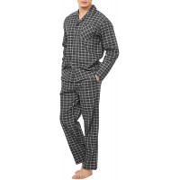 David Archy Men's Flannel Pajama Set Soft Cotton Button-Down Sleepwear With Fly PJ Set Lounge Wear at  Men's Clothing store