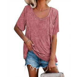 Womens Tunic T Shirts Short Sleeve Round Neck Soft Loose Shirts Summer Casual Tops with Pocket at  Women's Clothing store